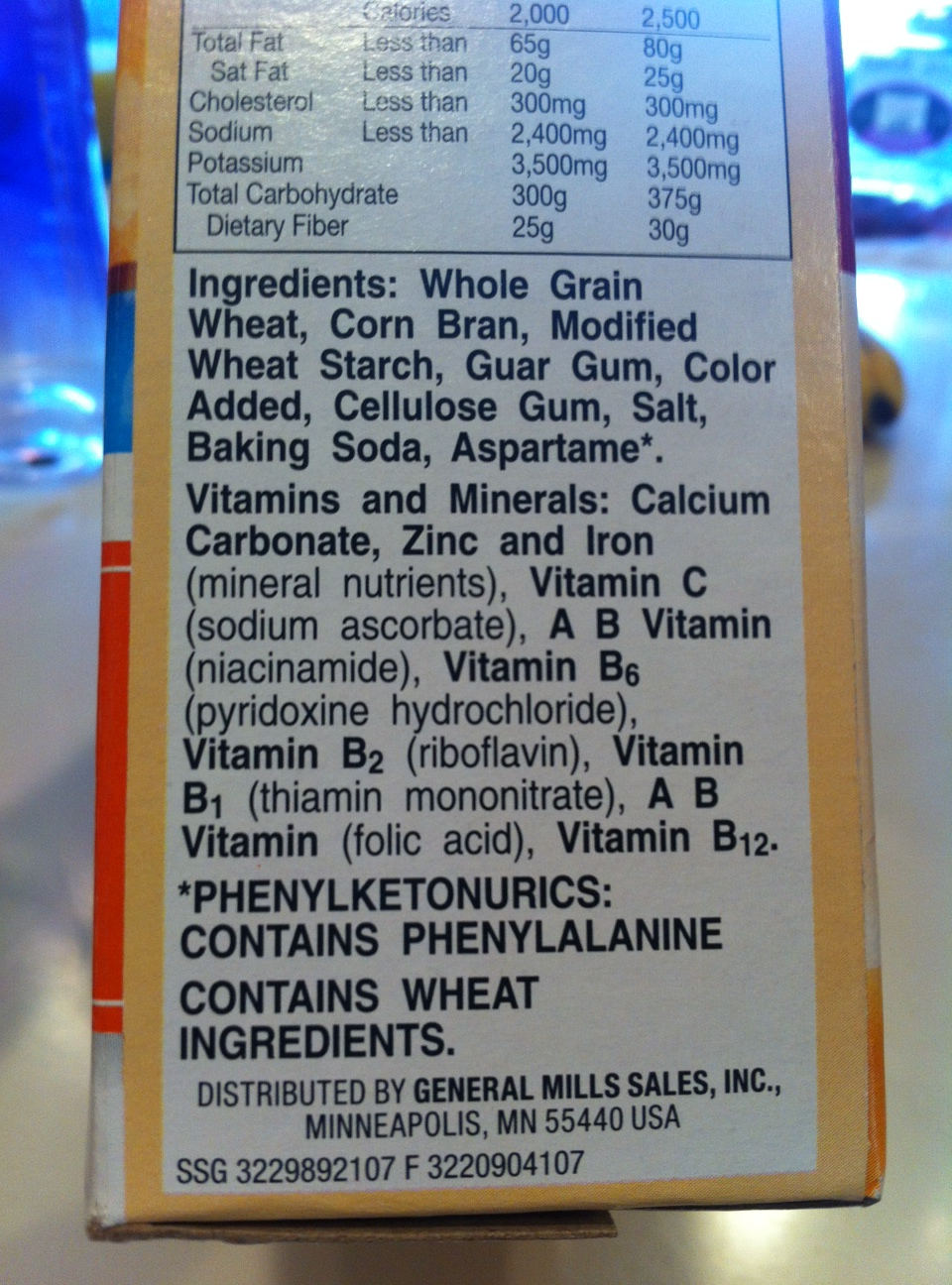 Fiber One Cereal Box - Ingredients List