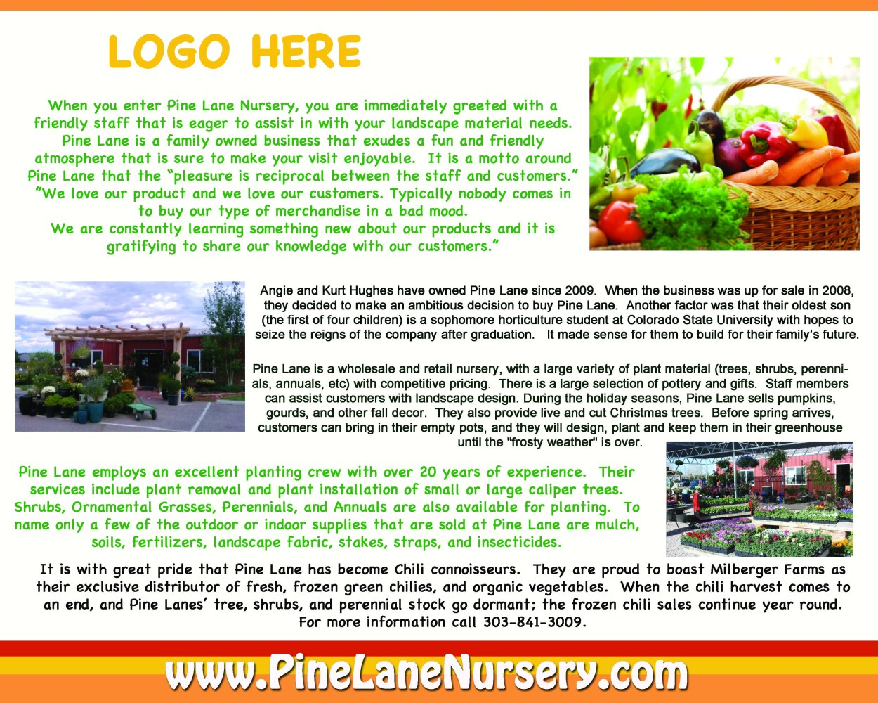 Pine Lane Nursery - Graphics & Advertising from That's Natural! Marketing