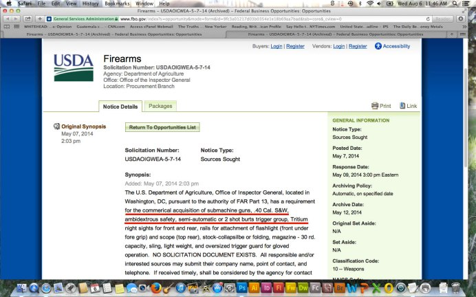 USDA Request for Submachine Guns Pic