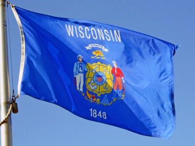 wisconsin flag waves in the breeze