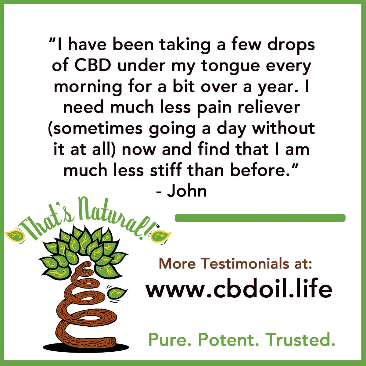 Testimonial for CBD Hemp Oil 13 (John - NM)