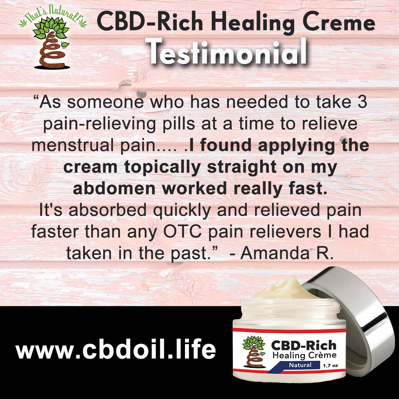 Testimonials for Instagram 18 (AR) - CBD for Menstrual Pain
