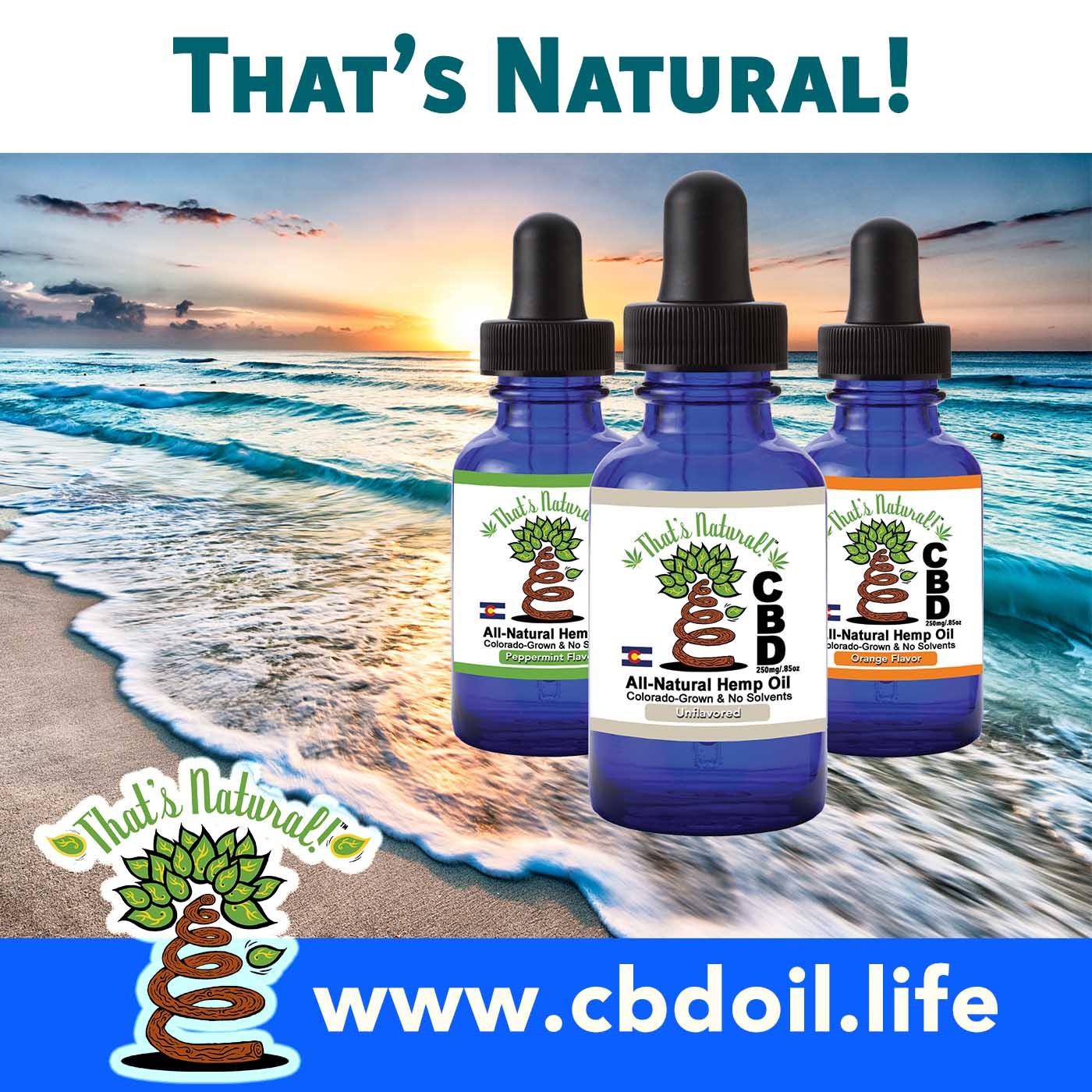 That's Natural Full Spectrum CBD Oil with 3 Bottles and Ocean Background, V1